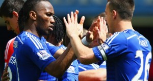 Chelsea players John Terry and Didier Drogba