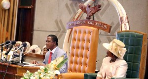 President Lungu with First Lady Esther in parliament... Picture by State House