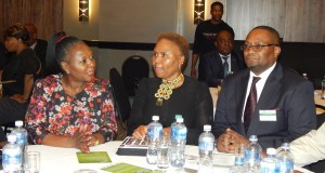 Margaret Mwanakatwe and South Africa's Minister for Small Business Development, Lindiwe Zulu meet just before the launch