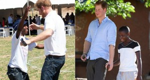 Prince Harry was overjoyed to be reunited with his long time friend Metsu Potsane in Lesotho on Thursday.