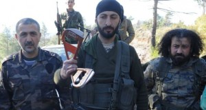 Turkmen rebels showed off what appear to be parts of a parachute near the northern Syrian village of Yamadi