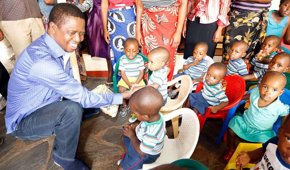 PRESIDENT Edgar Lungu this morning spent part of his Christmas time with Children at Mother Theresa Home in Mutendere, where he presented gifts to patients and children. (Picture by Eddie Mwanaleza/State House)