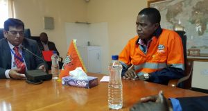 President Lungu during the tour of Kafue Steel Plant