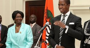 President Edgar Lungu and his Vice Inonge Wina
