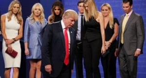 Donald Trump was joined by his family after the debate ended