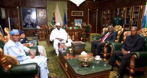 West African leaders have been trying to convince Gambian President Yahya Jammeh (centre) to step down