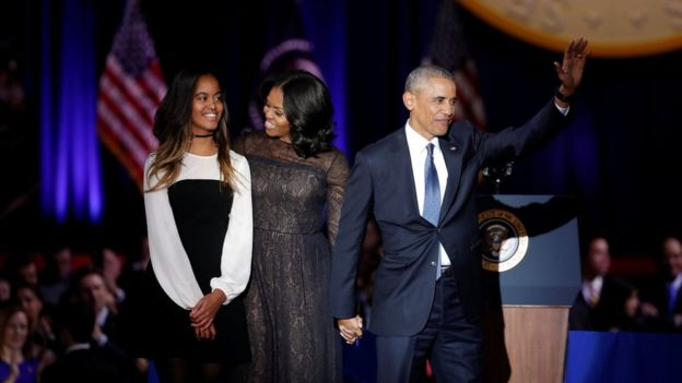 President Obama thanked his wife Michelle and daughters Malia (pictured) and Sasha for their sacrifices