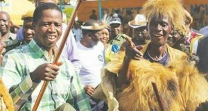 President Edgar Lungu with paramount Chief Mpezeni - Pic by State House