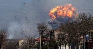 A huge cloud of smoke could be seen billowing above the ammunition depot of the Ukrainian armed forces on Thursday