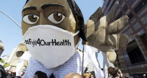A protest in Los Angeles against Donald Trump's bill. The healthcare debate has been an emotional one