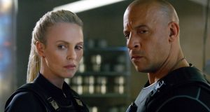"This image released by Universal Pictures shows Charlize Theron, left, and Vin Diesel in ""The Fate of the Furious."" (Universal Pictures via AP)  (Copyright: © 2017 Universal Studios. ALL RIGHTS RESERVED.)"
