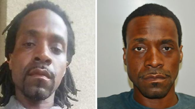 Two images of Kori Ali Muhammad released by the Fresno Police Department