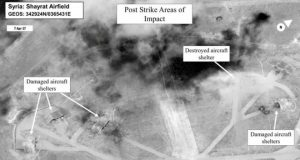 Images released by the Pentagon showed damage caused by the strikes on Shayrat air base