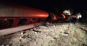 The train ploughed into a house as it derailed near the village of Adendro in Northern Greece