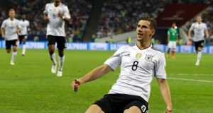 Germany's Leon Goretzka celebrates his goal against Mexico in the Confederations Cup semi-final.