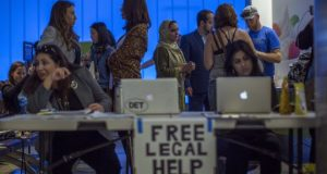 Immigrations rights lawyers were offering free advice to arrivals at Los Angeles International Airport