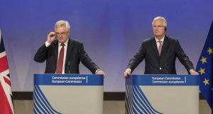 David Davis, left, and Michel Barnier