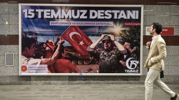 "Billboards like this one paying tribute to the ""Legend of 15 July"" have been erected ahead of coup commemorations in Turkey"