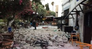 Buildings were damaged by the quake on Kos