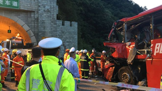 Rescue services worked through the night at the scene