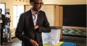 Mr Kagame voted in the capital Kigali