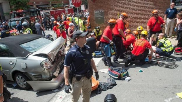 A number of people received first aid after a vehicle drove into a crowd