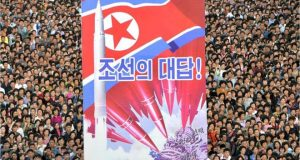 Thousands of North Koreans attended an anti-US rally in Pyongyang on Saturday