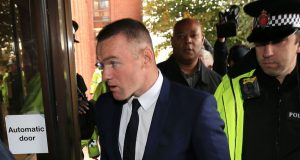 Everton striker Wayne Rooney arrives at Stockport Magistrates' Court