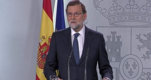 Media captionMr Rajoy accused the Catalan leader of creating confusion