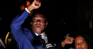 Emmerson Mnangagwa addresses supporters in Harare