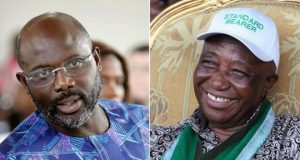 Former football star George Weah (left) and Vice-President Joseph Boakai are due to face each other in the second round
