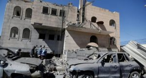 Several prison buildings and a perimeter wall were heavily damaged in the reported air strike