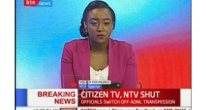 Kenyan news broadcasters were taken off-air but were live streaming their coverage online