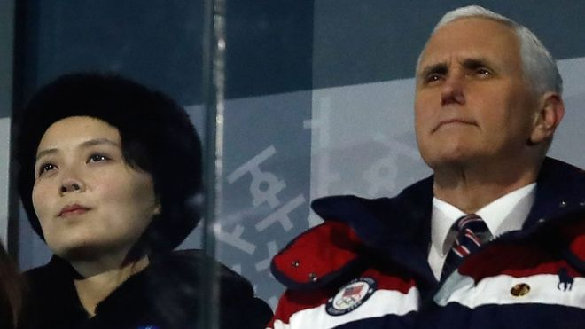 Kim Jong-un's sister Kim Yo-jong was seated near US Vice-President Mike Pence at the opening ceremony