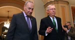Senators Schumer and McConnell arrived at Congress together to announce the deal