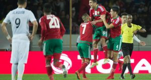 Morocco's Walid el-Krati (C-R) celebrates after scoring during the semi-final