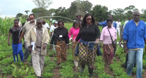 Agriculture Minister Dora Siliya touring a farm in Chongwe (Pic by Albert Mpezeni)