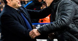 LONDON, ENGLAND - FEBRUARY 20: Chelsea manager Antonio Conte shake hands with FC Barcelona manager Ernesto Valverde at the UEFA Champions League Round of 16 First Leg  match between         Chelsea FC and FC Barcelona at Stamford Bridge on February 20, 2018 in London, United Kingdom. (Photo by MB Media/Getty Images)