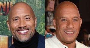 Dwayne Johnson (left) and Vin Diesel didn't shoot any scenes together for The Fate of the Furious