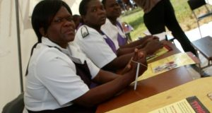 """Zimbabwe's nurses' association said it """"taken note"""" of the mass sacking - but that the strike would go on"""