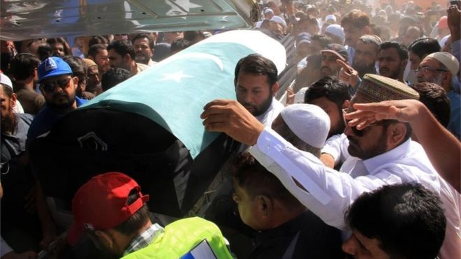 Wrapped in the Pakistani flag, Sabika Sheikh's coffin was taken to the funeral service