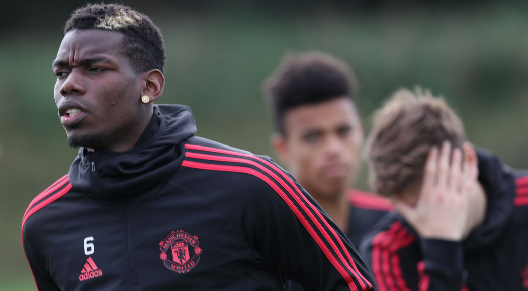 MANCHESTER, ENGLAND - SEPTEMBER 26:  (EXCLUSIVE COVERAGE) Paul Pogba of Manchester United in action during a first team training session at Aon Training Complex on September 26, 2018 in Manchester, England.  (Photo by John Peters/Man Utd via Getty Images)